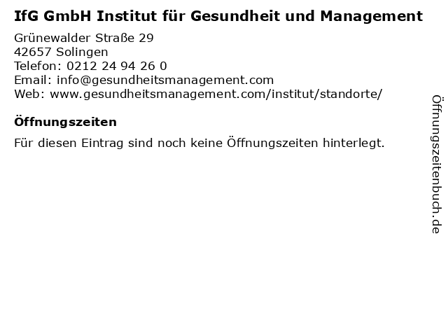 IfG GmbH Institut für Gesundheit und Management in Solingen: Adresse und Öffnungszeiten