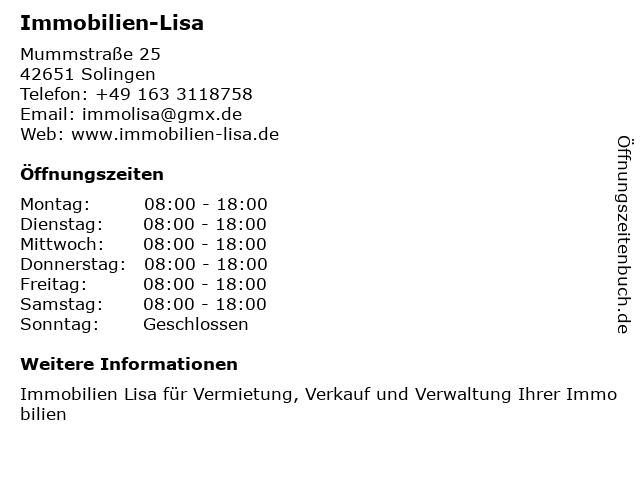 Immobilien-Lisa in Solingen: Adresse und Öffnungszeiten