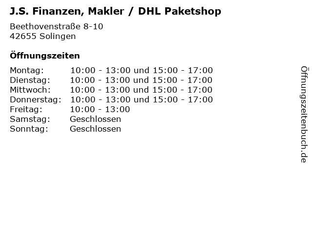 J.S. Finanzen, Makler / DHL Paketshop in Solingen: Adresse und Öffnungszeiten