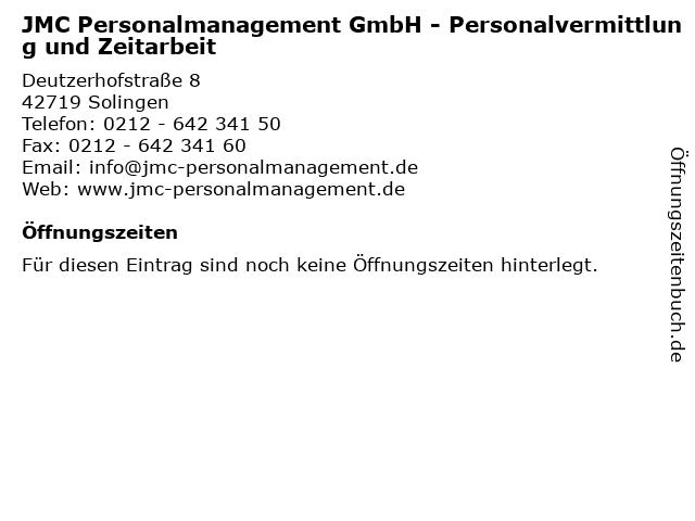 JMC Personalmanagement GmbH - Personalvermittlung und Zeitarbeit in Solingen: Adresse und Öffnungszeiten