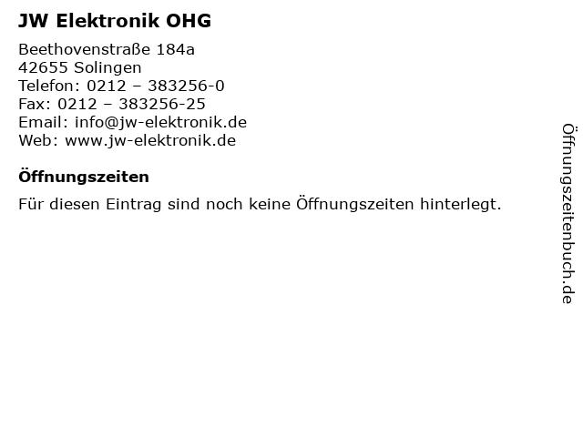JW Elektronik OHG in Solingen: Adresse und Öffnungszeiten