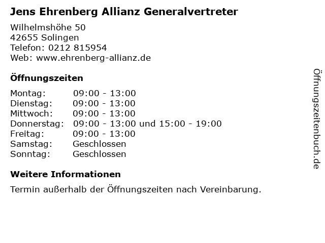 Jens Ehrenberg Allianz Generalvertreter in Solingen: Adresse und Öffnungszeiten