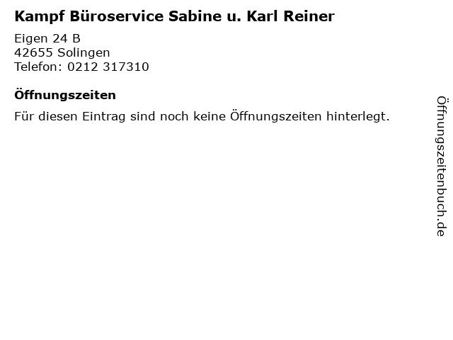 Kampf Büroservice Sabine u. Karl Reiner in Solingen: Adresse und Öffnungszeiten