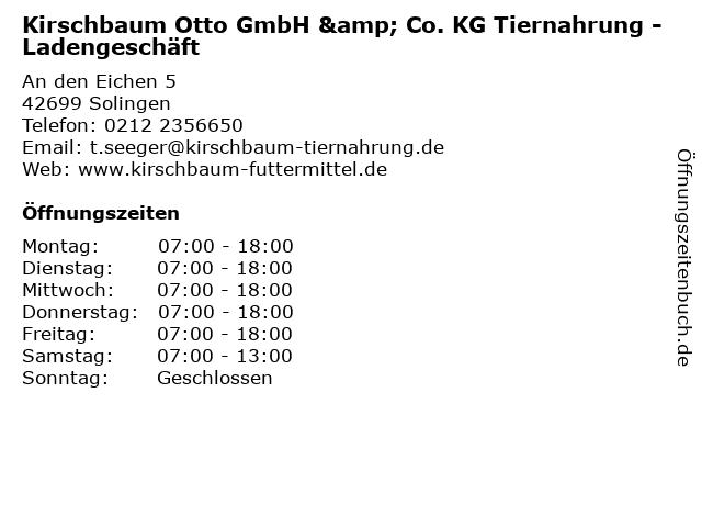 Kirschbaum Otto GmbH & Co. KG Tiernahrung - Ladengeschäft in Solingen: Adresse und Öffnungszeiten