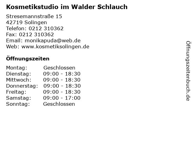 Kosmetikstudio im Walder Schlauch in Solingen: Adresse und Öffnungszeiten