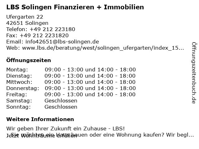 LBS Solingen Finanzieren + Immobilien in Solingen: Adresse und Öffnungszeiten