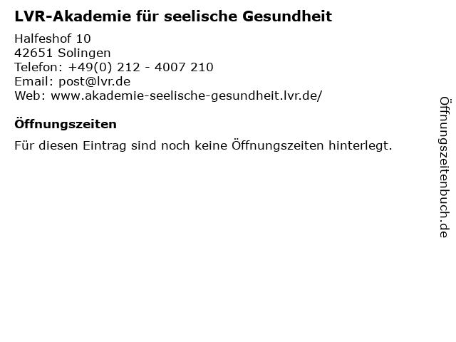 LVR-Akademie für seelische Gesundheit in Solingen: Adresse und Öffnungszeiten