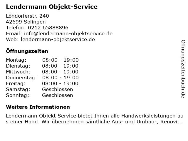 Lendermann Objekt-Service in Solingen: Adresse und Öffnungszeiten