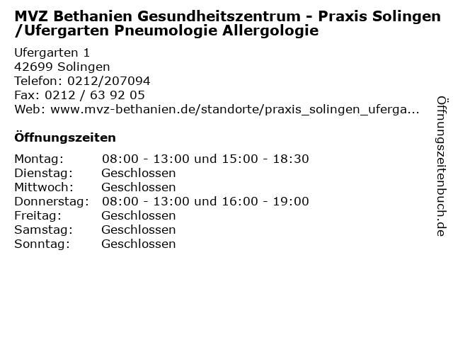 MVZ Bethanien Gesundheitszentrum - Praxis Solingen/Ufergarten Pneumologie Allergologie in Solingen: Adresse und Öffnungszeiten