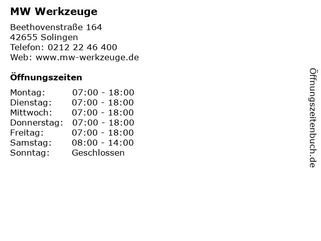 MW Werkzeuge in Solingen: Adresse und Öffnungszeiten