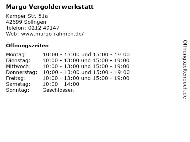 Margo Vergolderwerkstatt in Solingen: Adresse und Öffnungszeiten