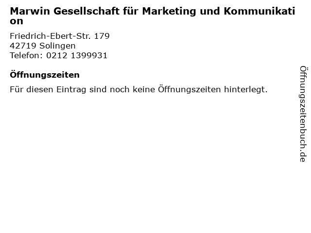 Marwin Gesellschaft für Marketing und Kommunikation in Solingen: Adresse und Öffnungszeiten