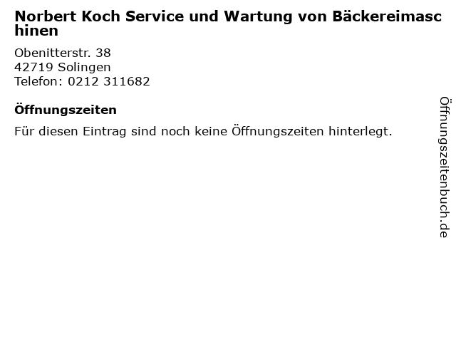 Norbert Koch Service und Wartung von Bäckereimaschinen in Solingen: Adresse und Öffnungszeiten