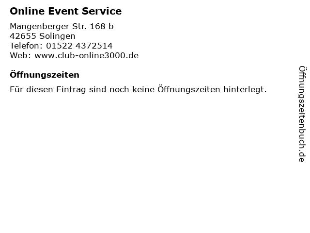 Online Event Service in Solingen: Adresse und Öffnungszeiten