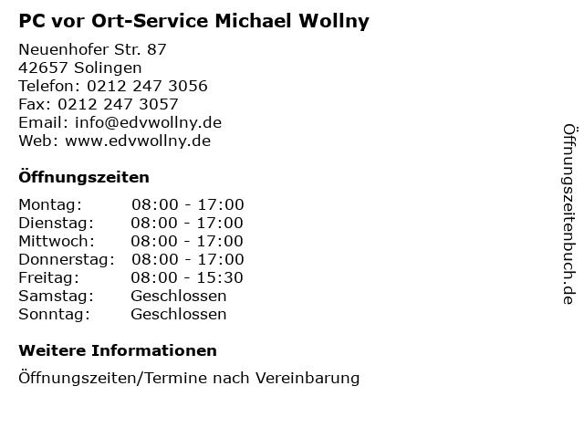 PC vor Ort-Service Michael Wollny in Solingen: Adresse und Öffnungszeiten