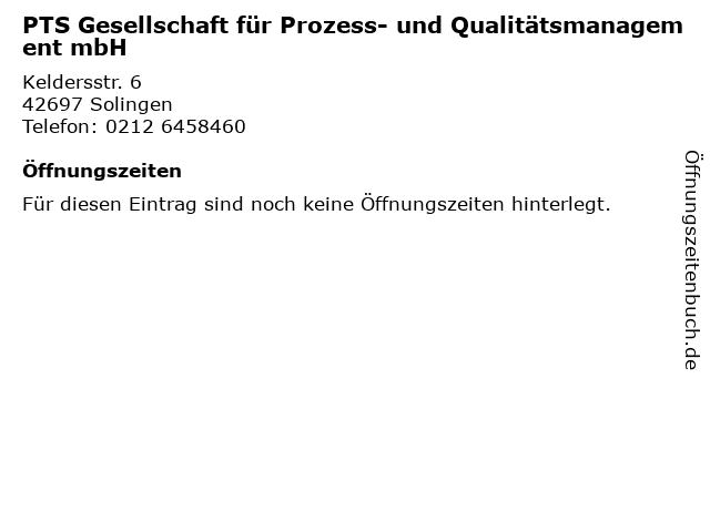 PTS Gesellschaft für Prozess- und Qualitätsmanagement mbH in Solingen: Adresse und Öffnungszeiten