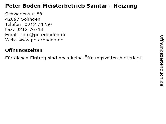 Peter Boden Meisterbetrieb Sanitär - Heizung in Solingen: Adresse und Öffnungszeiten