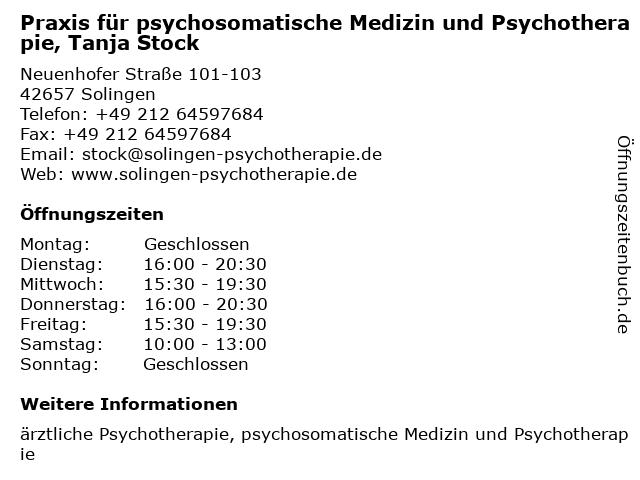Praxis für psychosomatische Medizin und Psychotherapie, Tanja Stock in Solingen: Adresse und Öffnungszeiten