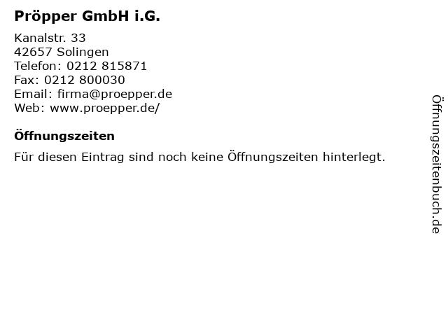 Pröpper GmbH i.G. in Solingen: Adresse und Öffnungszeiten
