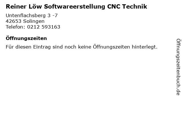 Reiner Löw Softwareerstellung CNC Technik in Solingen: Adresse und Öffnungszeiten
