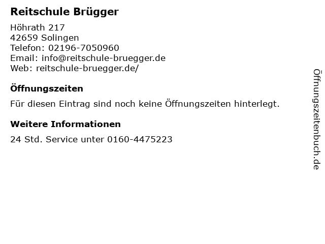 Reitschule Brügger in Solingen: Adresse und Öffnungszeiten