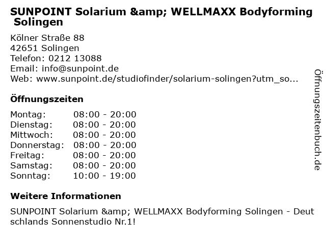 SUNPOINT Solarium & WELLMAXX Bodyforming Solingen in Solingen: Adresse und Öffnungszeiten