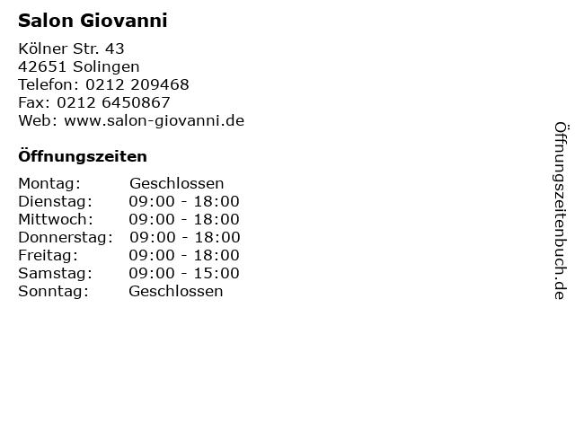 Salon Giovanni in Solingen: Adresse und Öffnungszeiten