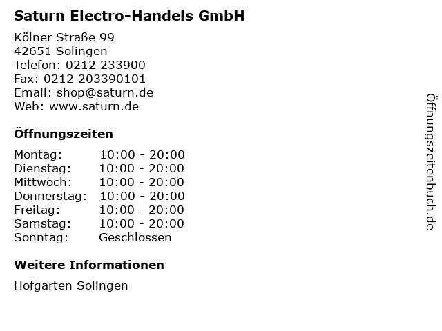 Saturn Electro-Handels GmbH in Solingen: Adresse und Öffnungszeiten