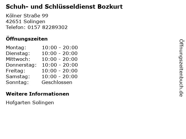 Schuh- und Schlüsseldienst Bozkurt in Solingen: Adresse und Öffnungszeiten