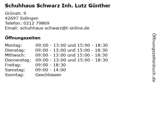 Schuhhaus Schwarz Inh. Lutz Günther in Solingen: Adresse und Öffnungszeiten
