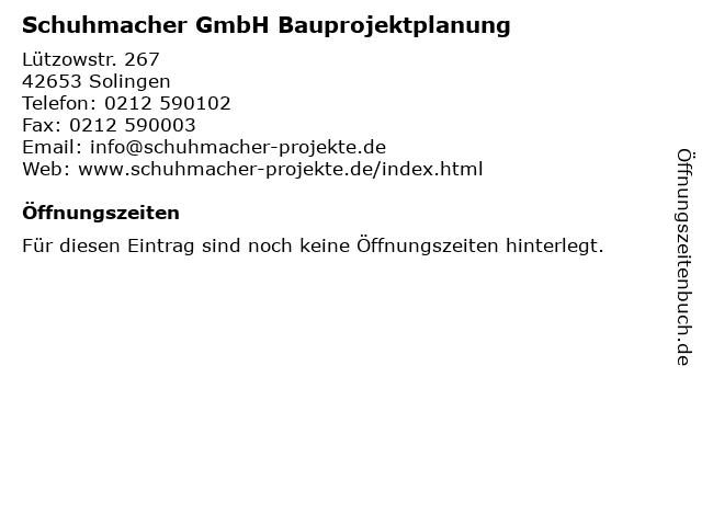 Schuhmacher GmbH Bauprojektplanung in Solingen: Adresse und Öffnungszeiten