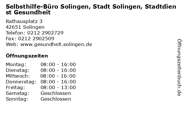 Selbsthilfe-Büro Solingen, Stadt Solingen, Stadtdienst Gesundheit in Solingen: Adresse und Öffnungszeiten