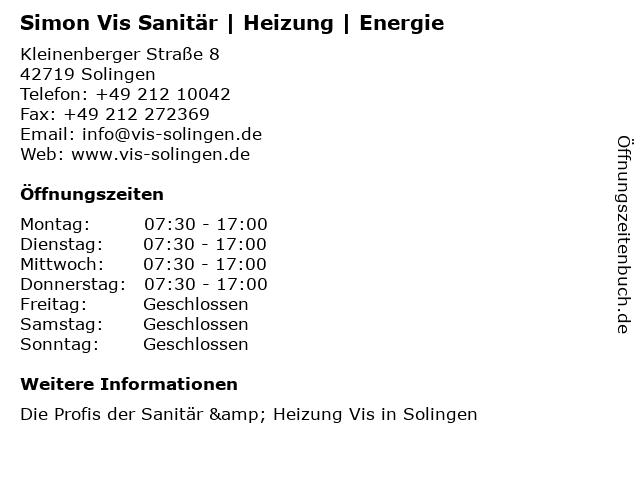 Simon Vis Sanitär   Heizung   Energie in Solingen: Adresse und Öffnungszeiten