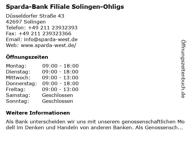 Sparda-Bank Filiale Solingen-Ohligs in Solingen: Adresse und Öffnungszeiten