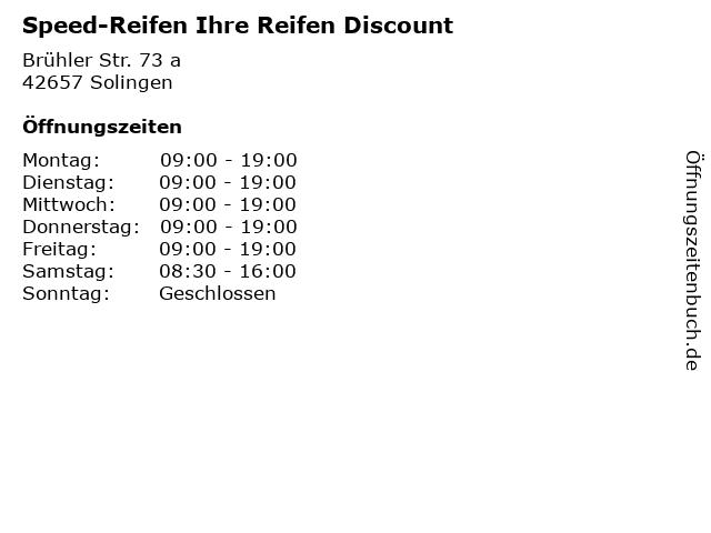 Speed-Reifen Ihre Reifen Discount in Solingen: Adresse und Öffnungszeiten
