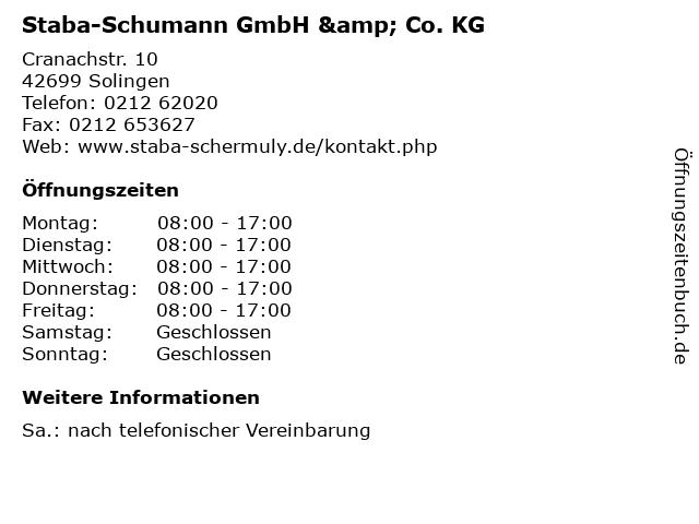 Staba-Schumann GmbH & Co. KG in Solingen: Adresse und Öffnungszeiten