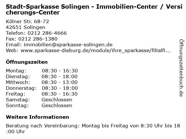 Stadt-Sparkasse Solingen - Immobilien-Center / Versicherungs-Center in Solingen: Adresse und Öffnungszeiten