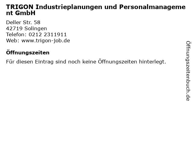TRIGON Industrieplanungen und Personalmanagement GmbH in Solingen: Adresse und Öffnungszeiten
