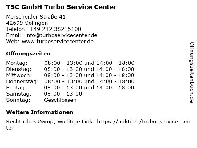 TSC GmbH Turbo Service Center in Solingen: Adresse und Öffnungszeiten