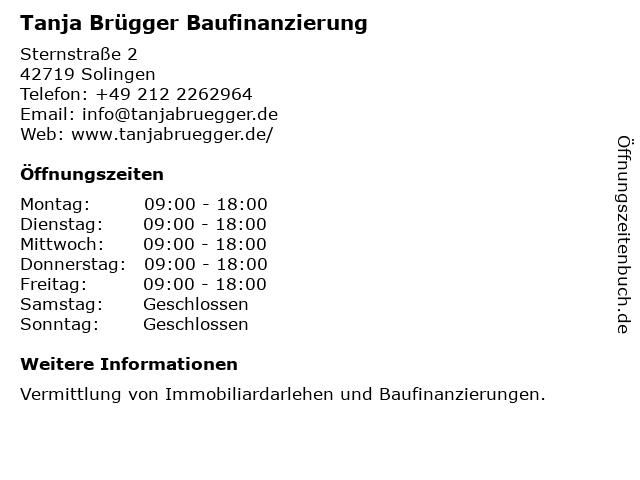 Tanja Brügger Baufinanzierung in Solingen: Adresse und Öffnungszeiten