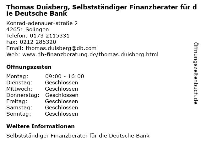 Thomas Duisberg, Selbstständiger Finanzberater für die Deutsche Bank in Solingen: Adresse und Öffnungszeiten
