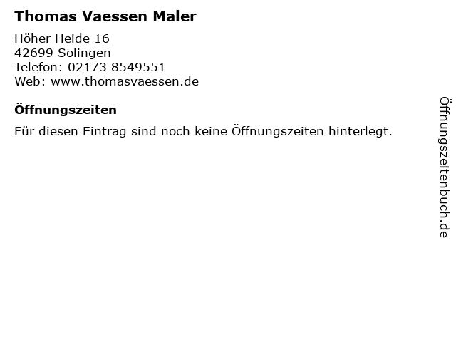 Thomas Vaessen Maler in Solingen: Adresse und Öffnungszeiten