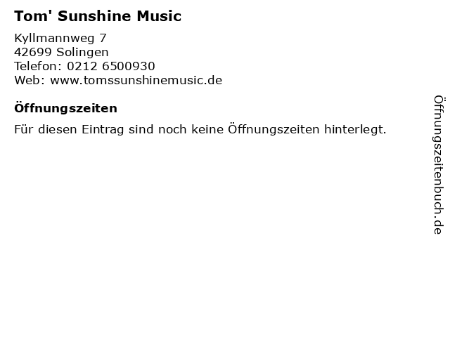 Tom' Sunshine Music in Solingen: Adresse und Öffnungszeiten