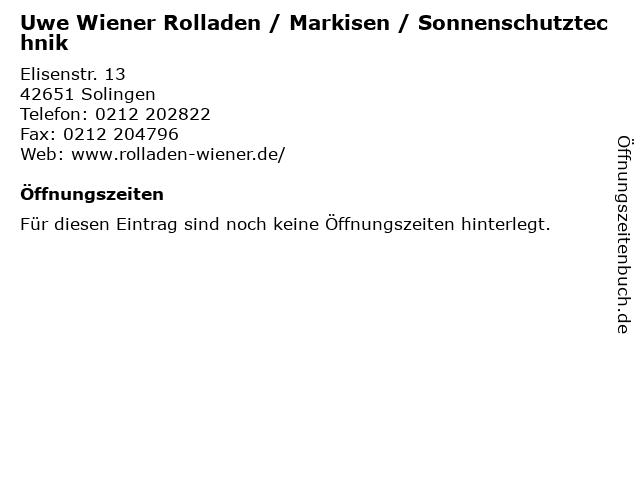 Uwe Wiener Rolladen / Markisen / Sonnenschutztechnik in Solingen: Adresse und Öffnungszeiten