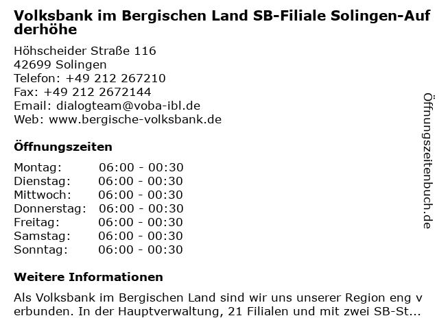 Volksbank im Bergischen Land SB-Filiale Solingen-Aufderhöhe in Solingen: Adresse und Öffnungszeiten