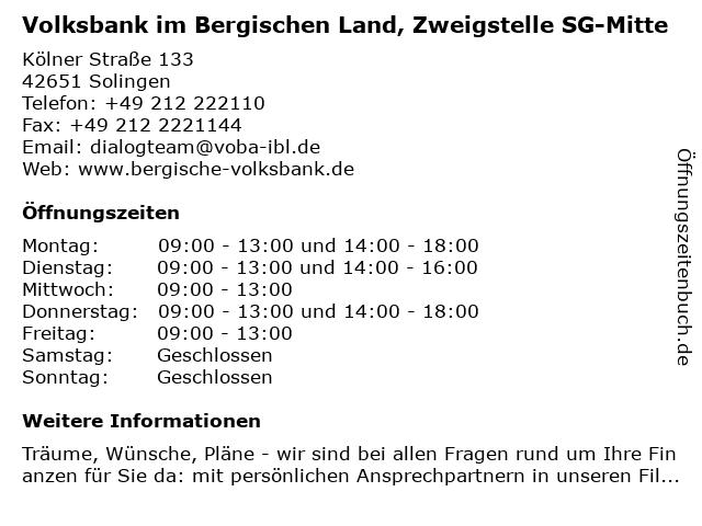Volksbank im Bergischen Land, Zweigstelle SG-Mitte in Solingen: Adresse und Öffnungszeiten
