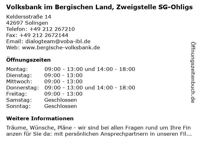 Volksbank im Bergischen Land, Zweigstelle SG-Ohligs in Solingen: Adresse und Öffnungszeiten