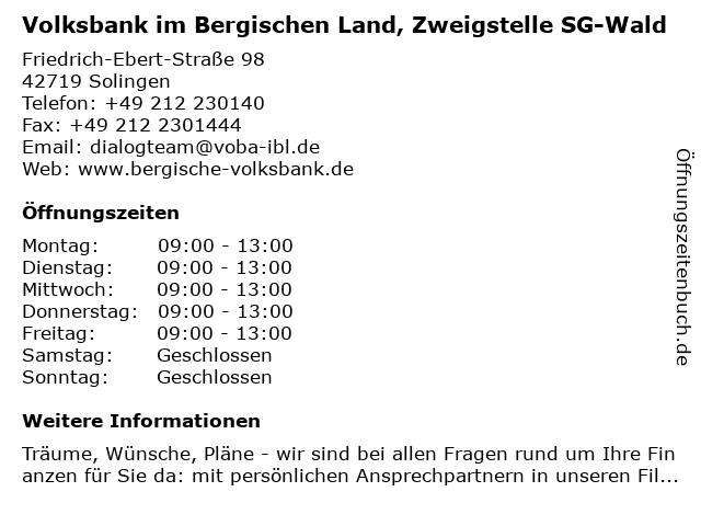 Volksbank im Bergischen Land, Zweigstelle SG-Wald in Solingen: Adresse und Öffnungszeiten