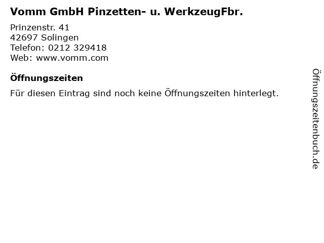 Vomm GmbH Pinzetten- u. WerkzeugFbr. in Solingen: Adresse und Öffnungszeiten