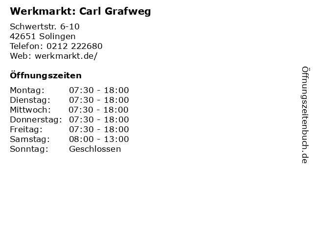 Werkmarkt: Carl Grafweg in Solingen: Adresse und Öffnungszeiten
